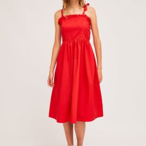 Vestido midi rojo liso Compañía Fantástica
