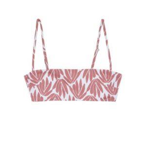 Top de bikini estilo bandeau estampado vegetal rojo de Compañía Fantástica