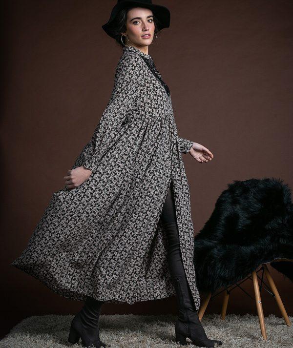 Vestido largo Eleanor negro de Akinolaude