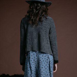 Vestido Blair gris azulado y negro de Akinolaude