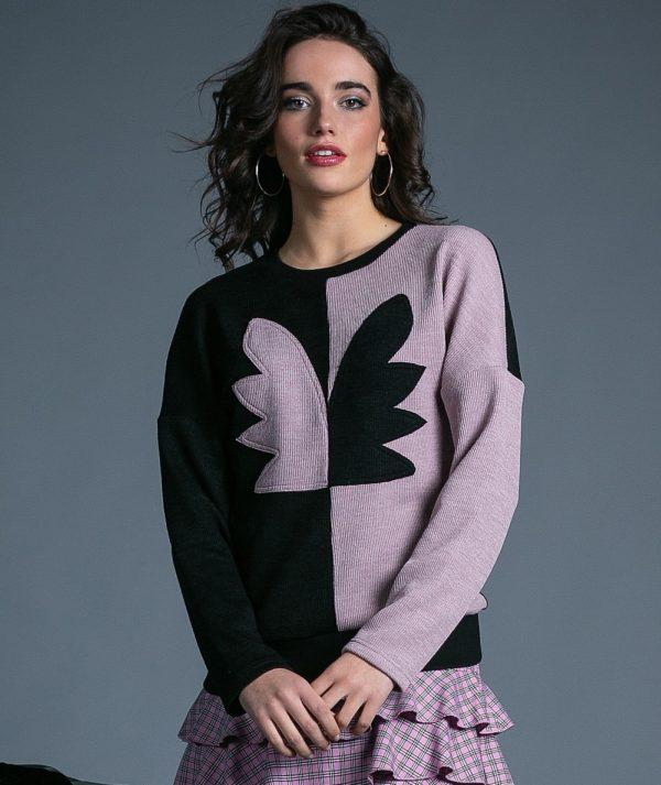 Sweater Angel negro rosa de Akinolaude
